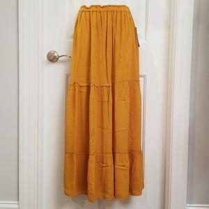 Zara Yellow Crepe Tiered Maxi Skirt